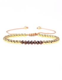 Fashion Brown Crystal Brass Plated Gold Bead Adjustable Woven Bracelet