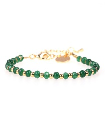 Fashion Dark Green Faceted Natural Stone Mixed Color Beaded Copper Plated Real Gold Bracelet