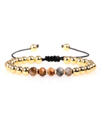 Fashion Brown Faceted Crystal Beads Braided Copper Beads Adjustable Bracelet