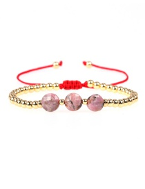 Fashion Black Line Red Copper Bead Natural Stone Woven Beaded Bracelet