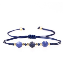 Fashion Royal Blue Faceted Natural Stone Gold Bead Woven Bracelet