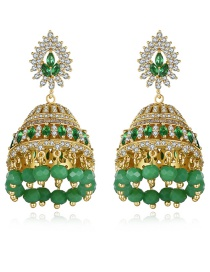 Fashion Green Geometric Cutout Earrings With Diamonds And Crystal Beads