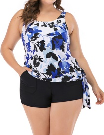 Fashion Blue Flower Print Drawstring Split Swimsuit