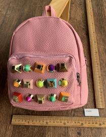 Fashion Pink Pu Rivet Backpack