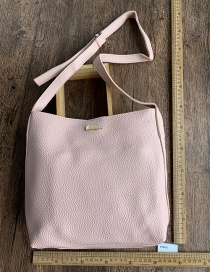 Fashion Pink Pu Bucket Bag Shoulder Messenger Bag