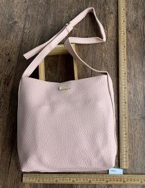Fashion Pink Pu Bucket Bag Shoulder Messenger Bag