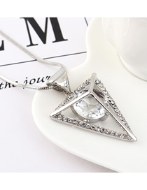 Fashion Platinum Inverted Triangle Crystal Sweater Chain  Iron