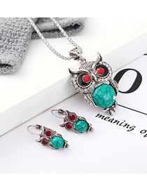 Fashion Blue Owl Diamond Earrings Necklace Set  Alloy