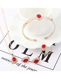 Fashion Red Crystal Glass Earrings Necklace Bracelet Set  Alloy