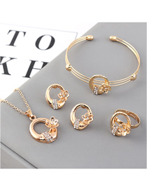 Fashion Gold Small Flower Diamond Earrings Necklace Ring Bracelet Set  Alloy