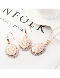 Fashion Gold Small Tortoise Shell Diamond Earrings Necklace Set  Alloy
