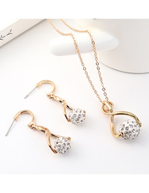 Fashion Gold Small Round Diamond Earrings Necklace Set  Alloy