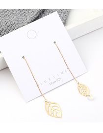 Fashion 14k Gold Plated Gold Cutout Leaves S925 Silver Needle Earrings
