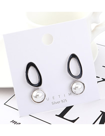 Fashion Platinum Plated Gold Pearl Openwork S925 Silver Needle Earrings