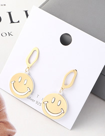 Fashion Gold Plated Gold Smiley Doll S925 Silver Needle Earrings
