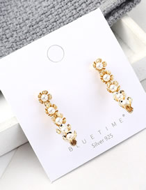 Fashion Gold Plated Gold Flower S925 Silver Needle Earrings