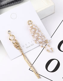Fashion Gold Plated Gold Asymmetric S925 Silver Needle Earrings