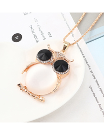 Fashion Champagne Gold + White + Black Owl With Diamond Necklace