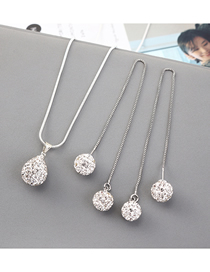 Fashion Silver Ball And Diamond Necklace Earring Set