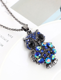 Fashion Gun Black + Blue Owl Diamond Cutout Necklace