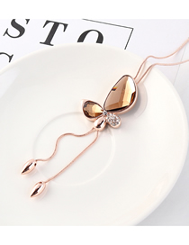 Fashion Coffee Butterfly-studded Tassel Necklace