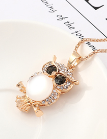 Fashion Champagne Gold Owl With Diamond Necklace