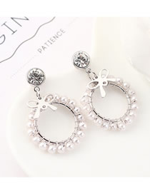 Fashion (platinum) Plated Gold Wind Bow Circle Hollow S925 Silver Needle Earrings