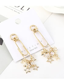 Fashion Gold Plated Gold Stars S925 Silver Needle Earrings