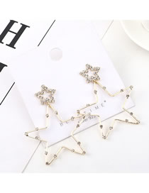 Fashion Gold Plated Gold Stars Love S925 Silver Needle Earrings