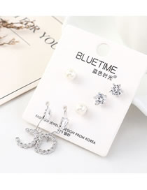 Fashion Silver Plated Gold Letter Pearl S925 Silver Needle Earrings Set