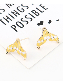 Fashion Gold Plated Gold Fish Tail S925 Silver Needle Earrings (yellow)