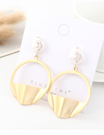 Fashion Gold Plated Gold Semi-circular Pearl Openwork S925 Silver Needle Earrings