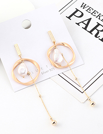 Fashion Golden Real Gold Plated Fringed Irregular Circle Pearl S925 Silver Pin Earrings