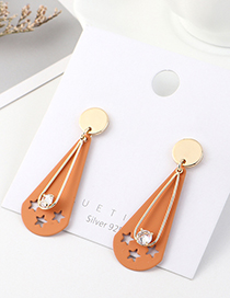 Fashion Orange Real Gold Plated Frosted Little Stars S925 Silver Pin Earrings