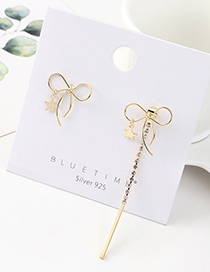Fashion Golden Bow Gold-plated Asymmetric S925 Silver Pin Earrings