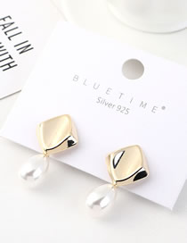 Fashion 14k Gold Gold-plated Pearl Geometry Earrings