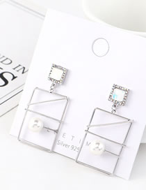 Fashion Platinum Rectangular Hollow Pearl And Diamonds Earrings