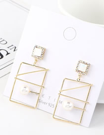 Fashion 14k Gold Rectangular Hollow Pearl And Diamonds Earrings