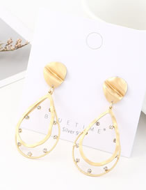 Fashion Dumb Gold Diamond Cutout Embossed Water Drop Earrings