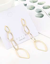 Fashion 14k Gold Irregular Geometric Hollow Earrings