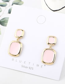 Fashion Pink Oil Dripping Irregular Geometry Earrings