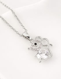 Fashion Platinum Diamond Mouse Cutout Necklace