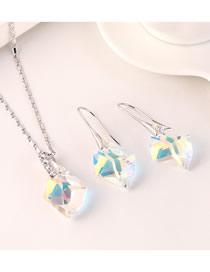Fashion Color White Austrian Diamond And Geometric Diamond Necklace Ring Set