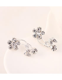 Fashion Platinum Diamond Flower Flower Butterfly Earrings