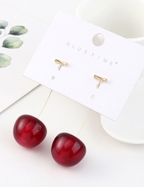 Fashion Red Wine Symmetrical Resin Cherry Earrings