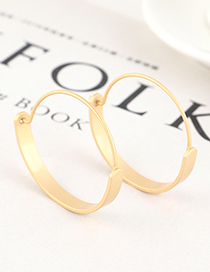 Fashion Dumb Gold Gold Plated Large Circle Cutout Earrings