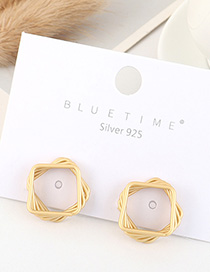 Fashion Dumb Gold Gold-plated Square Cutout Earrings