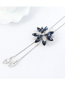 Fashion Dark Blue Inlaid Glass Diamond Flower Sweater Chain