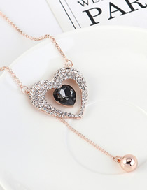 Fashion Rose Gold + Black Diamond Love Beaded Sweater Chain