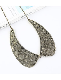 Fashion Gun Black Classical Collar Embossed Openwork Necklace